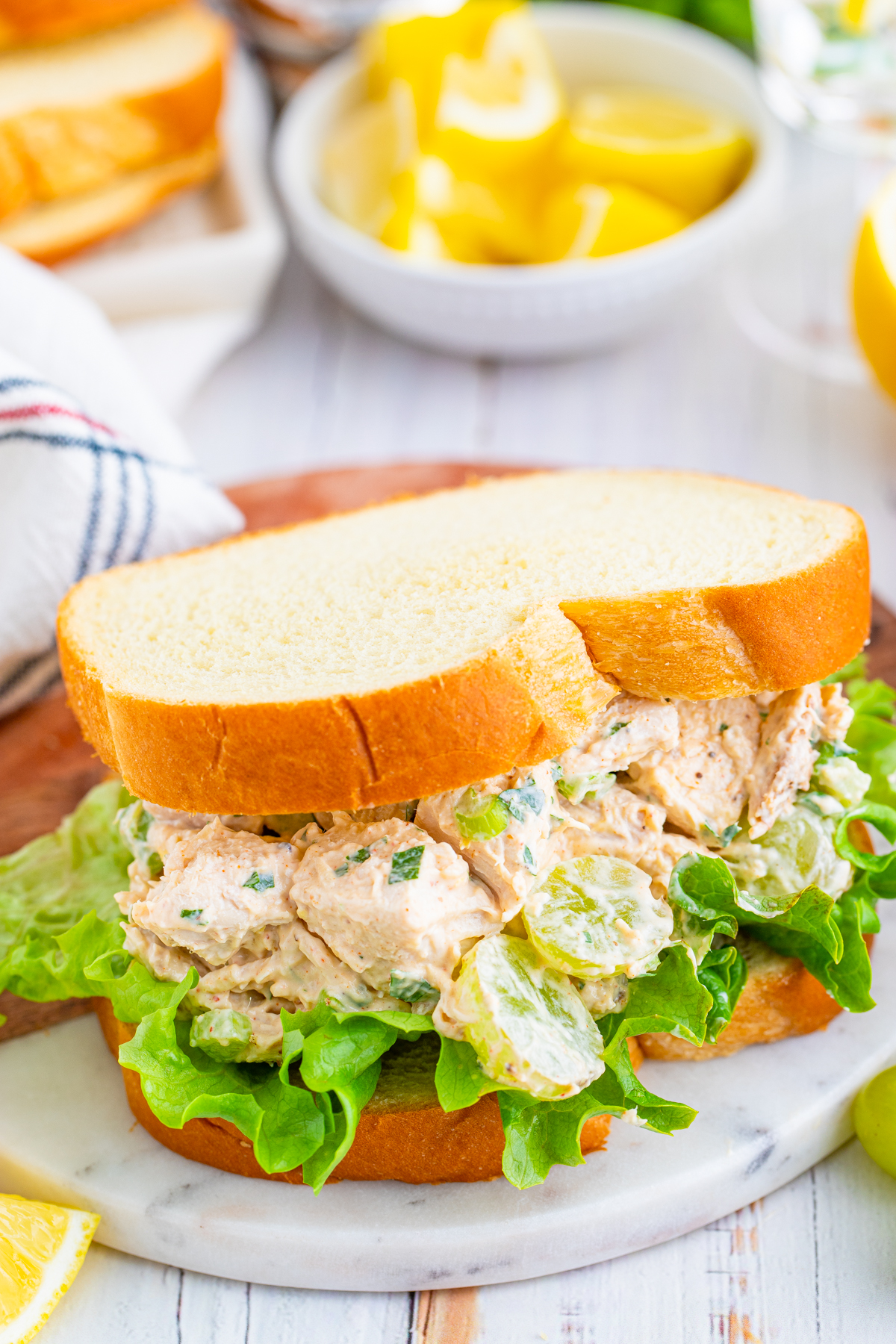 Chicken Salad with Grapes on sandwich bread