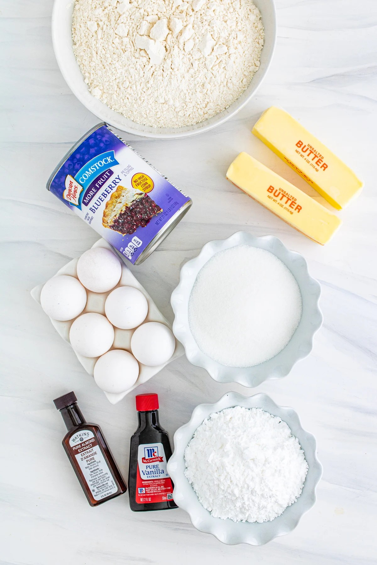 Ingredients needed to make Blueberry Bars