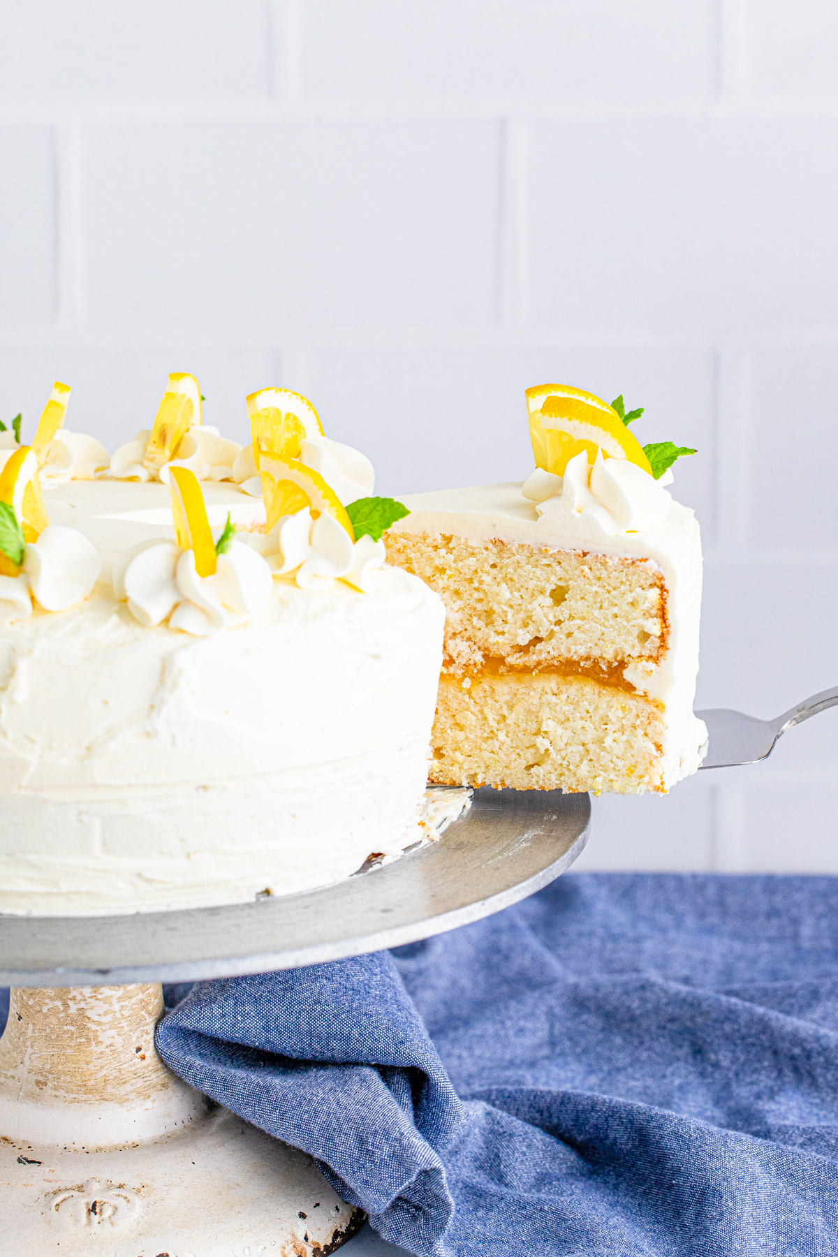 Cake server pulling out a slice of cake