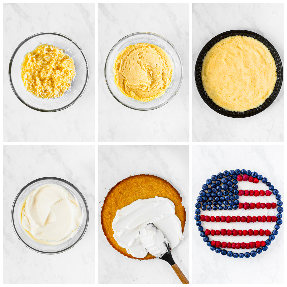 Step by step photos on how to make a Flag Cookie Pizza