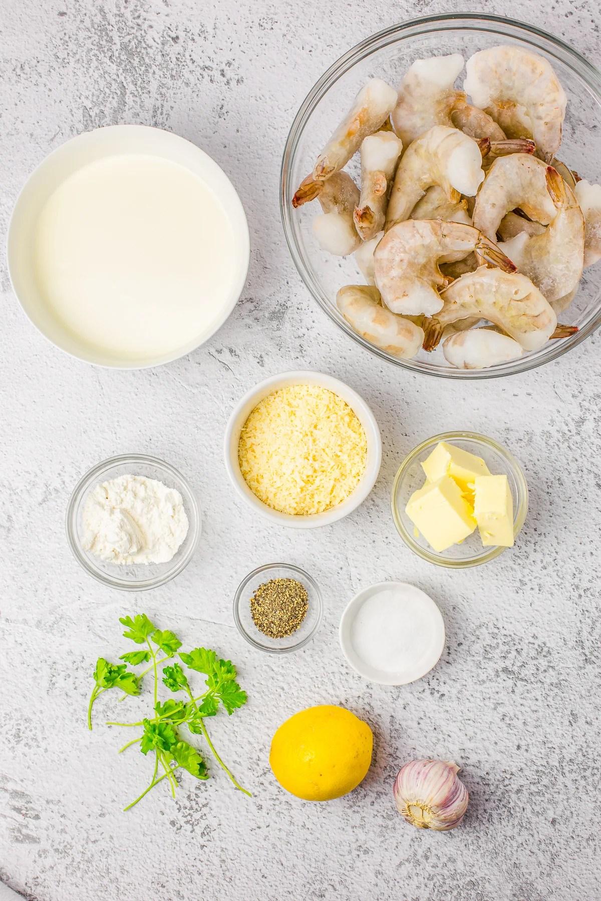 Ingredients needed to make Lemon Shrimp