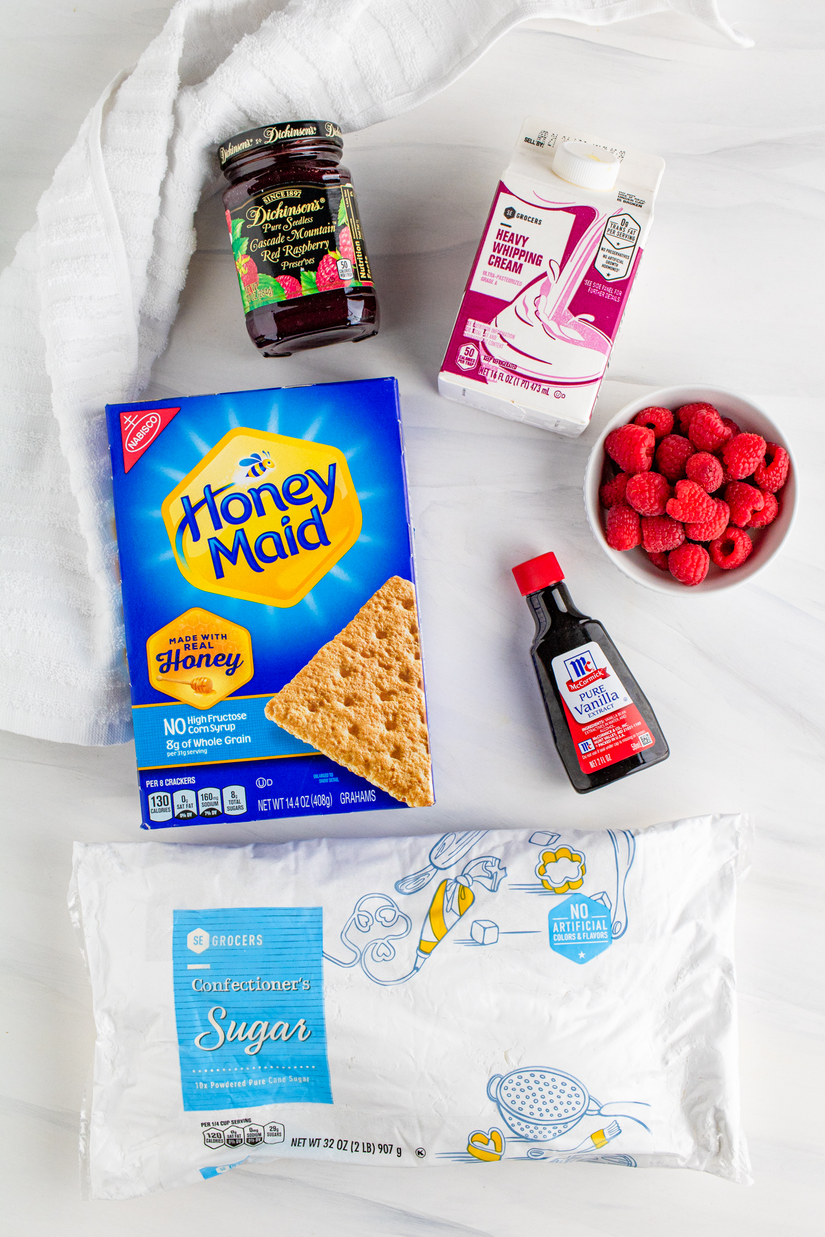 Ingredients needed to make a Raspberry Icebox Cake