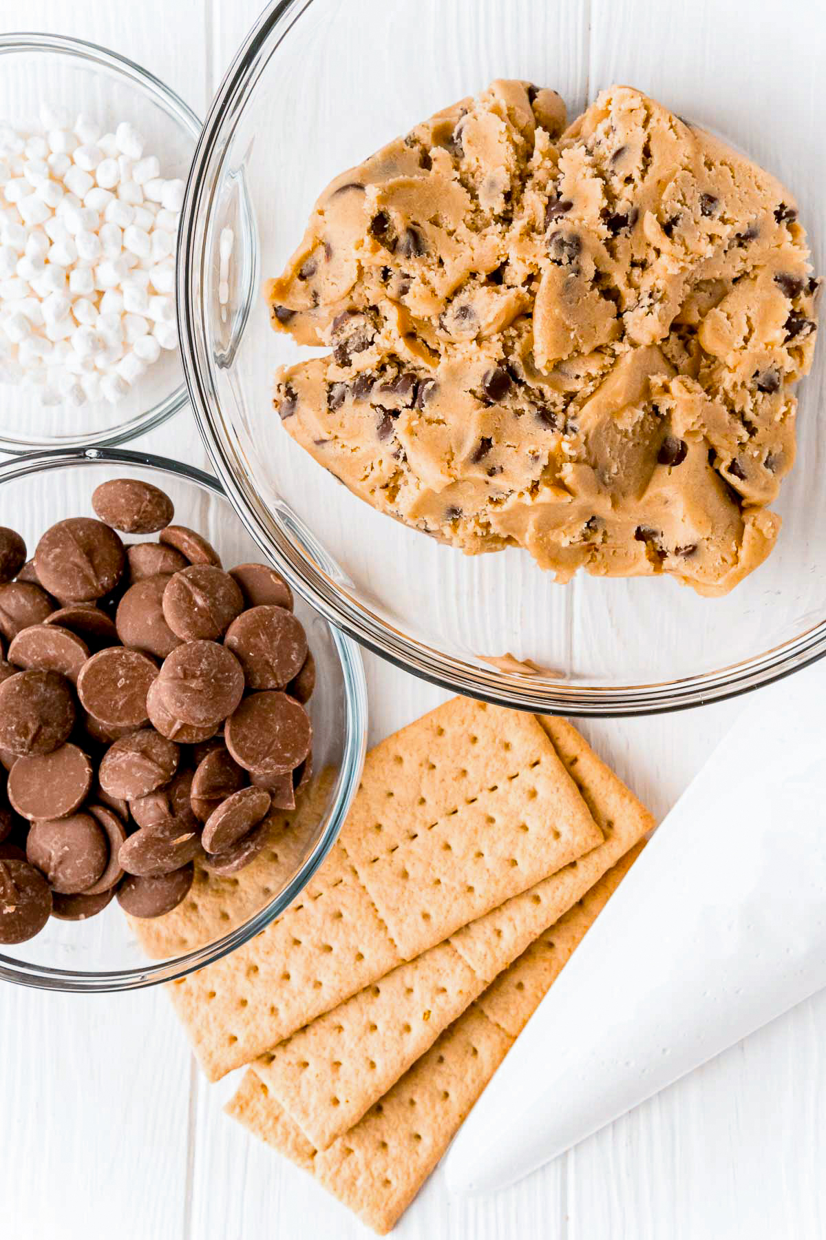 Ingredients needed to make a S'mores Cookie Recipe