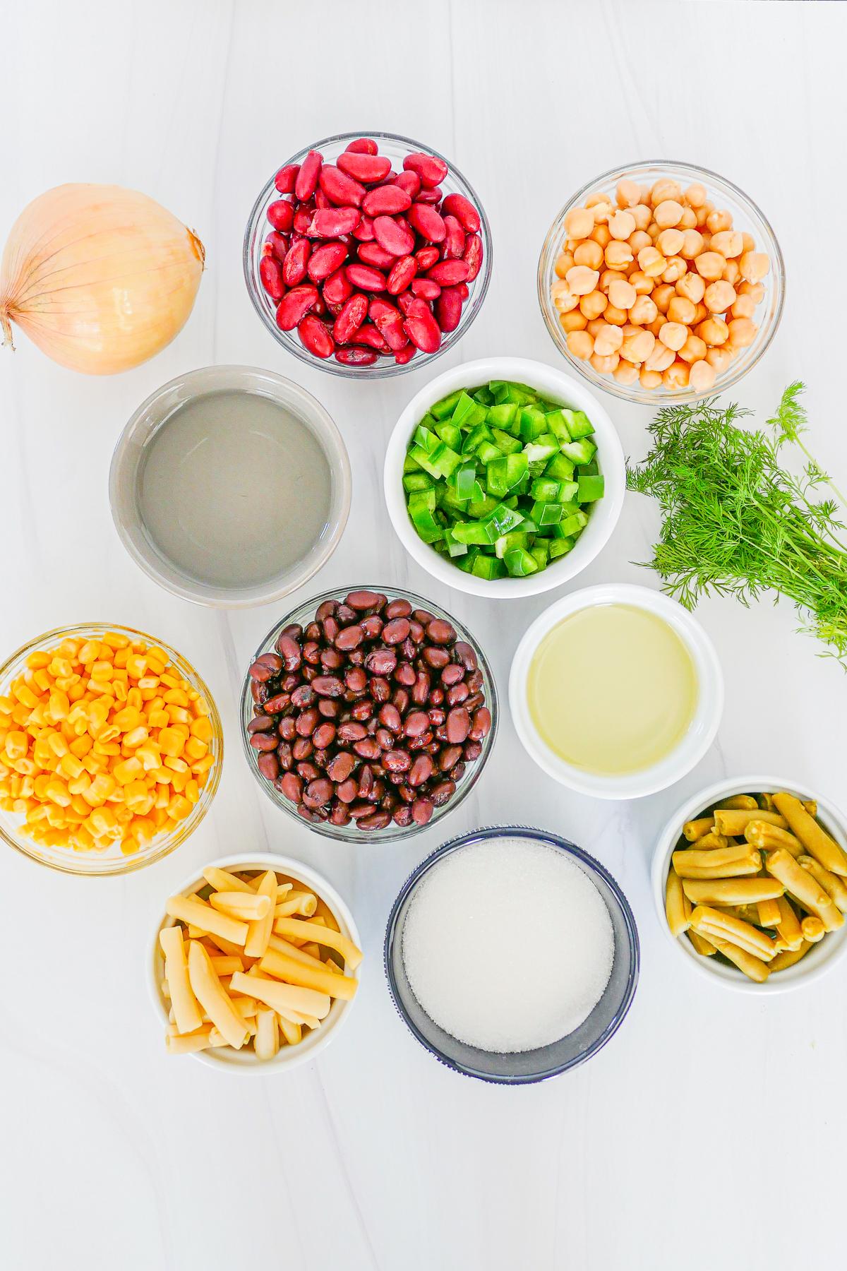 Ingredients needed to make 5 Bean Salad