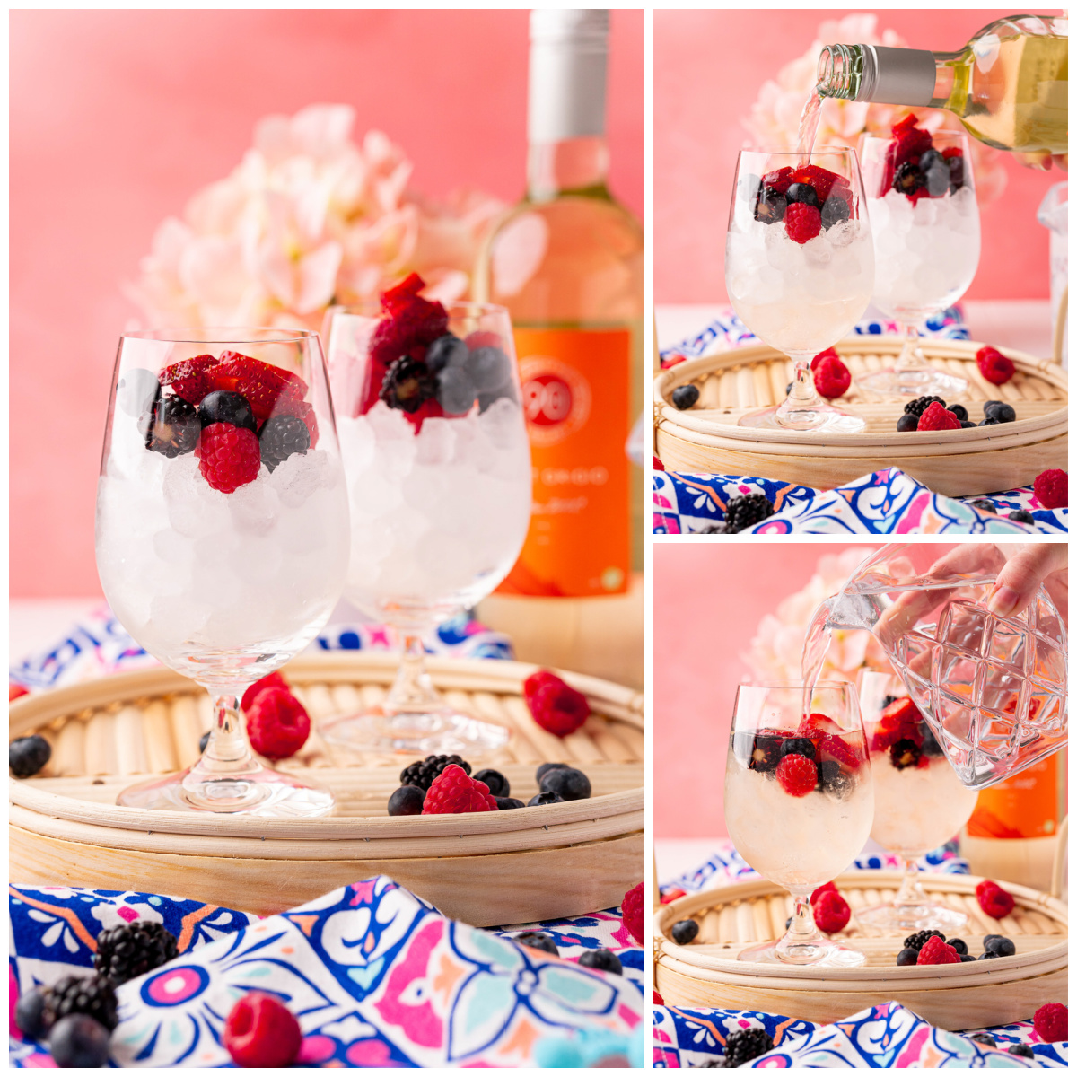 Step by step photos on how to make a White Wine Spritzer