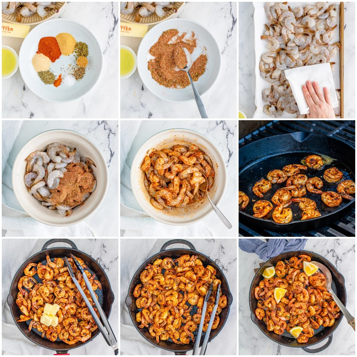 Step by step photos on how to make Blackened Shrimp
