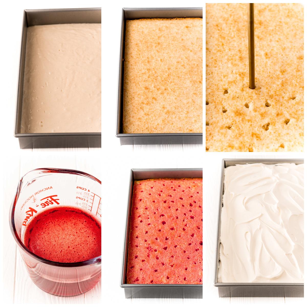 Step by step photos on how to make a Jello Poke Cake