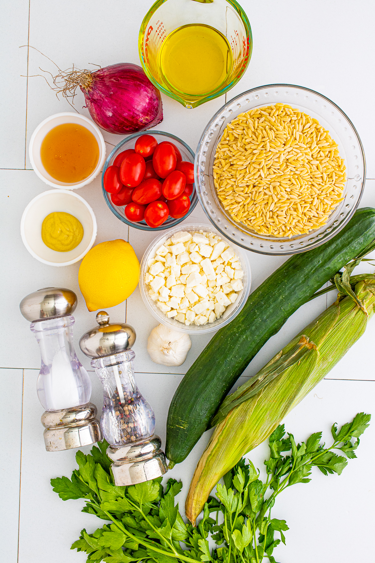 Ingredients needed to make Orzo Pasta Salad