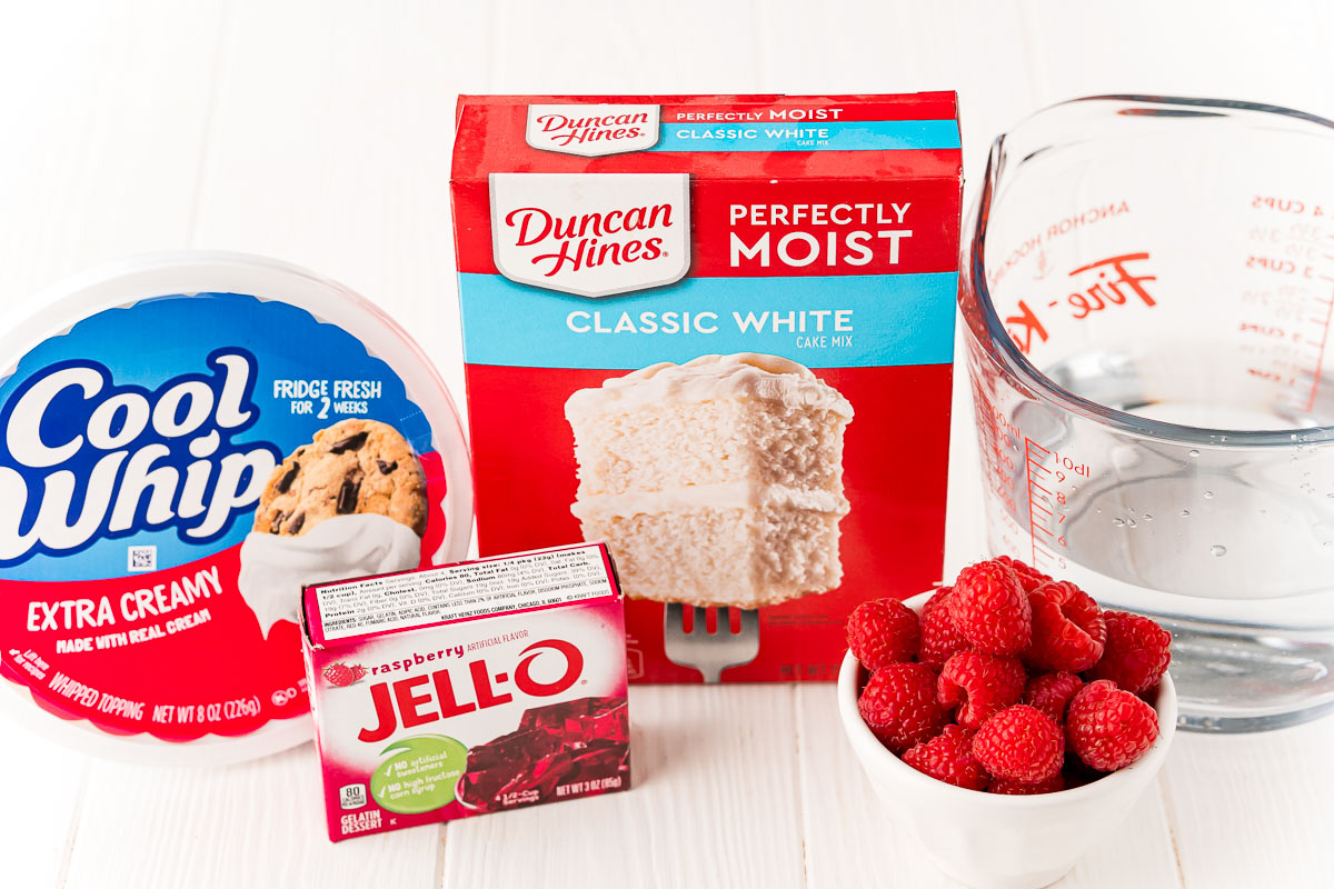 Ingredients needed to make a Raspberry Jello Poke Cake Recipe
