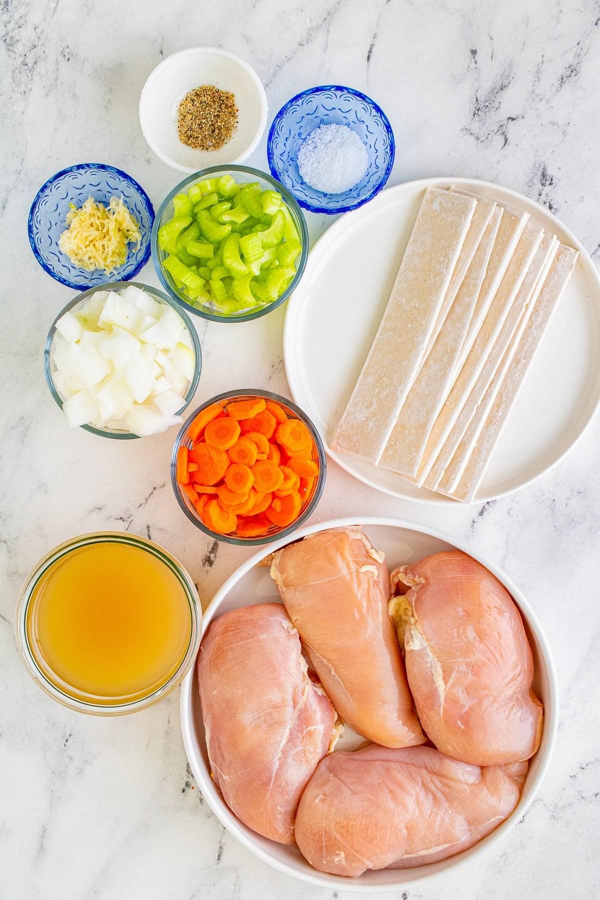 Ingredients needed to make Slow Cooker Chicken and Dumplings