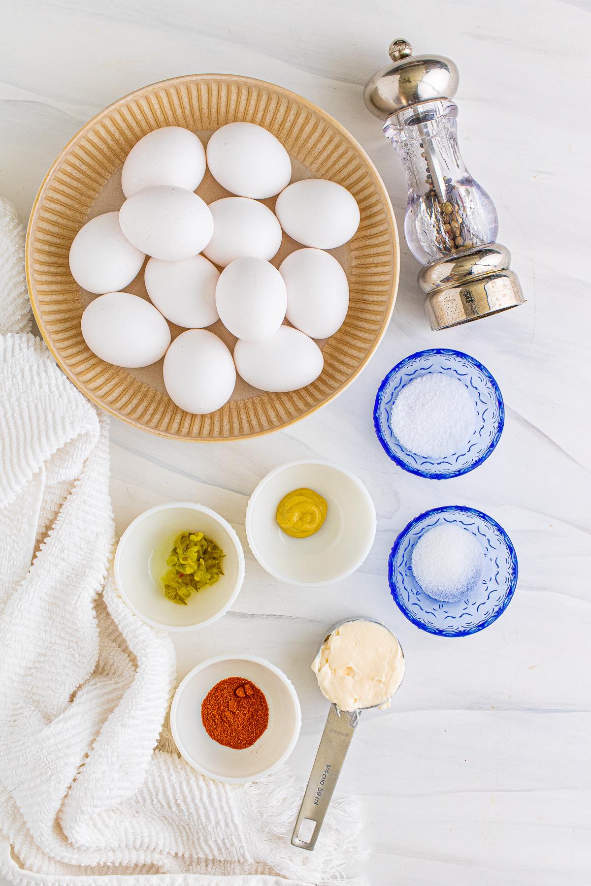 Ingredients needed to make Easy Deviled Eggs