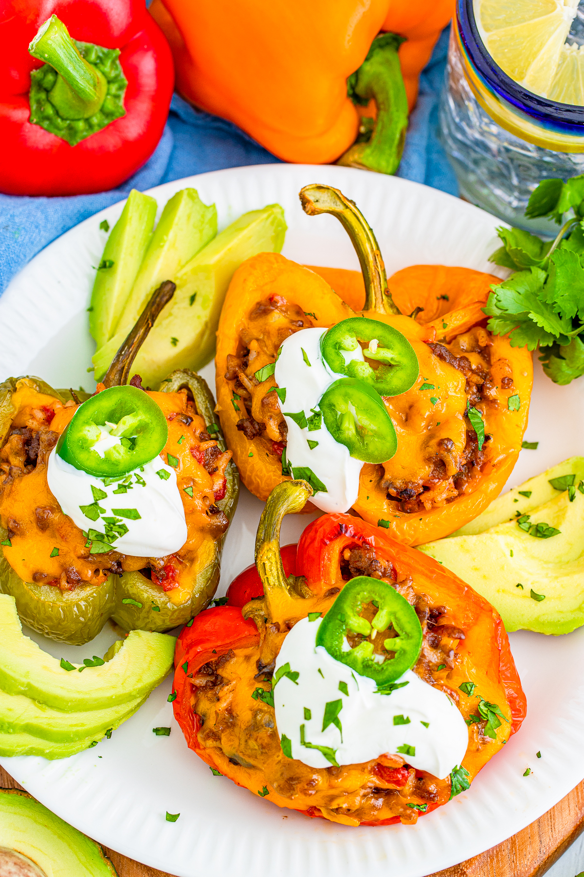 Overhead plated shot of Mexican Stuffed Peppers