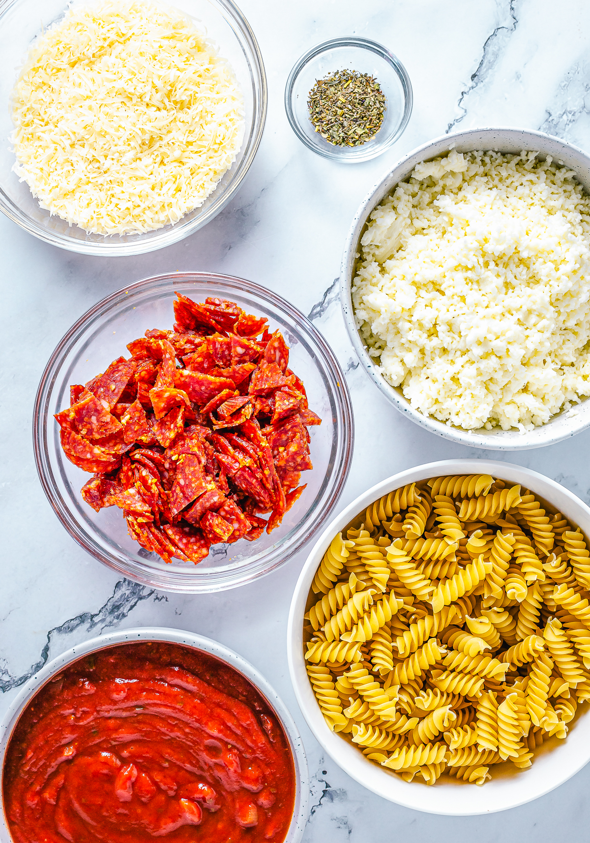 Ingredients needed to make a Pizza Pasta Bake.