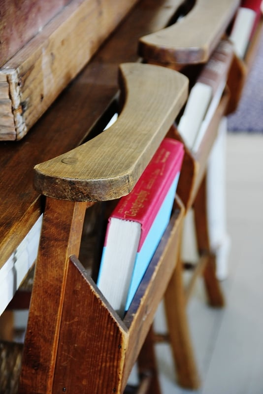 Chairs with books in back