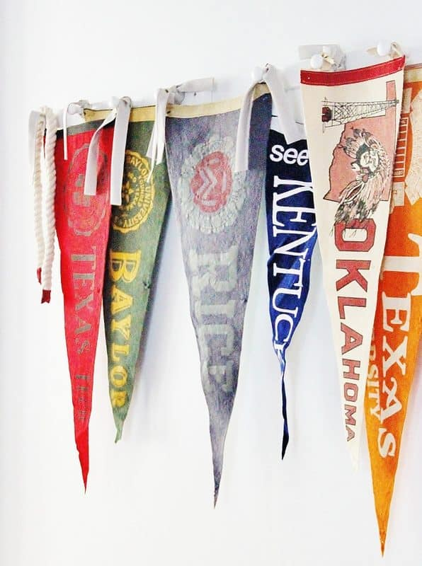 decorating with vintage finds pennants