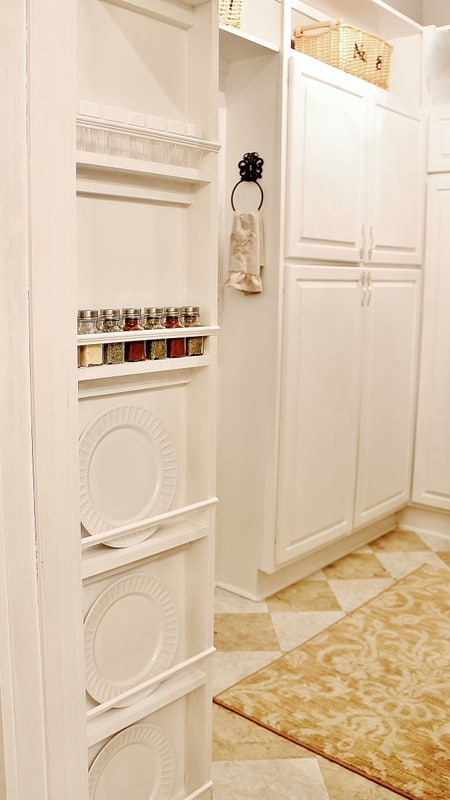 This built in spice rack has so much space for our kitchen