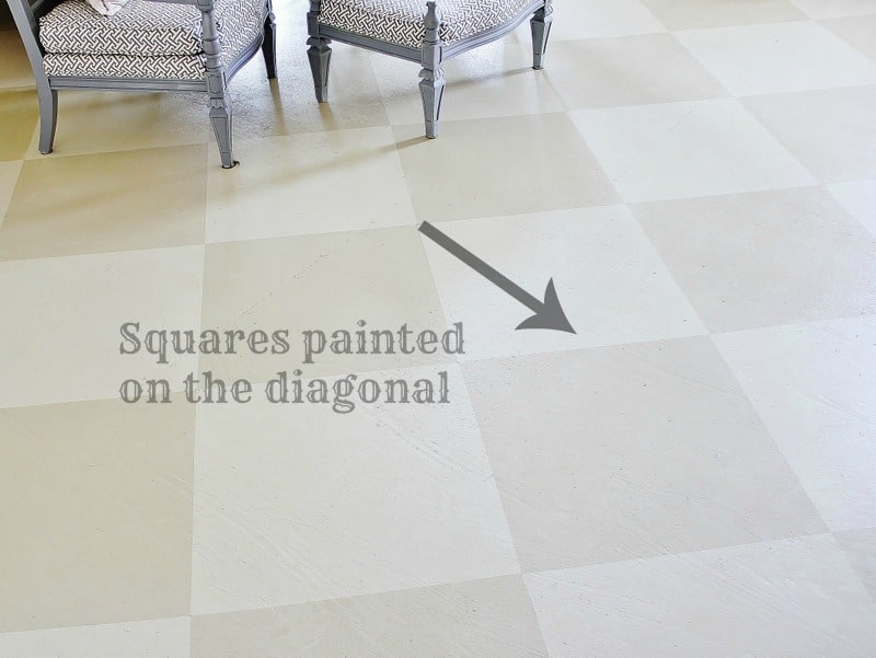 This diagonal painted squares create a checkered pattern on the painted floor.