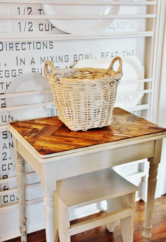 Paint-Stick-Herringbone-Stick-Table