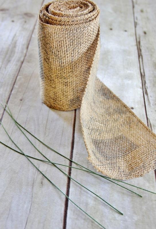 burlap ribbon and supplies to make a burlap bow