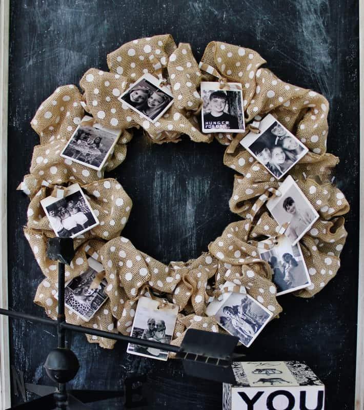 Burlap wreath with photos