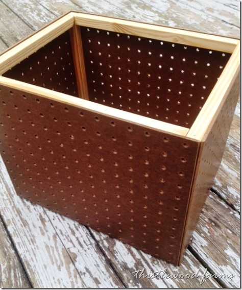 Attach the peg board to the frame with wood glue.
