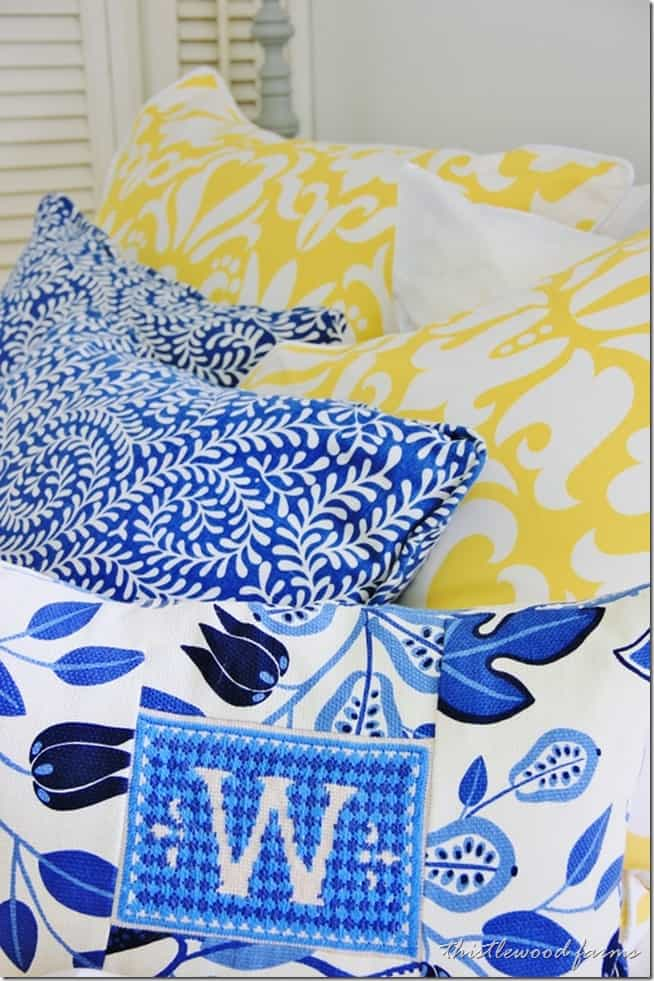 yellow and blue guest bedroom
