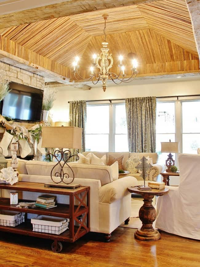 tobacco wood ceiling showhouse