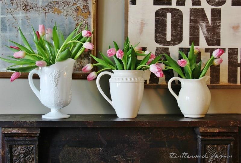 Tulips decorating the mantel