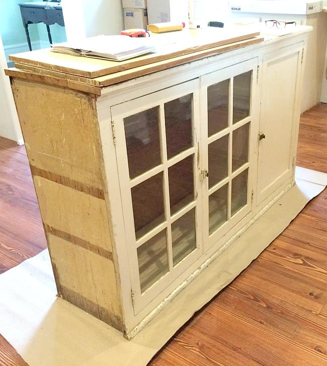 How to make a kitchen island from a cabinet