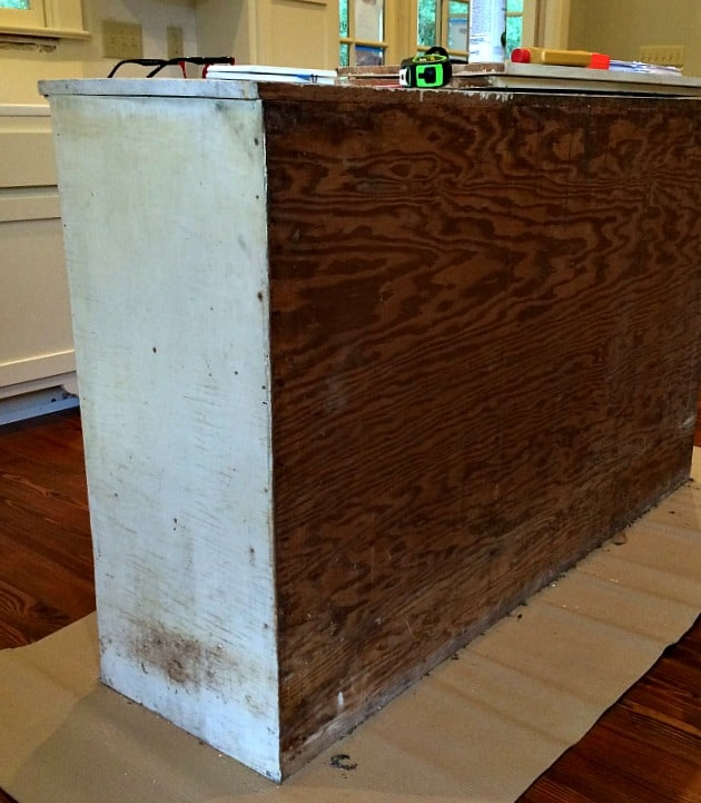 A look at the back of the cabinet for the kitchen island