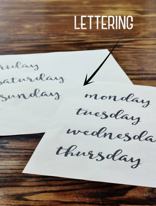 Print out lettering for each space