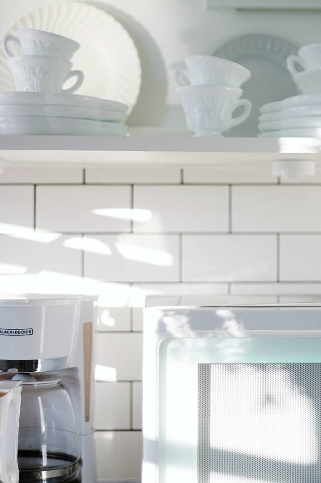 The subway tile is perfect in the pantry as well