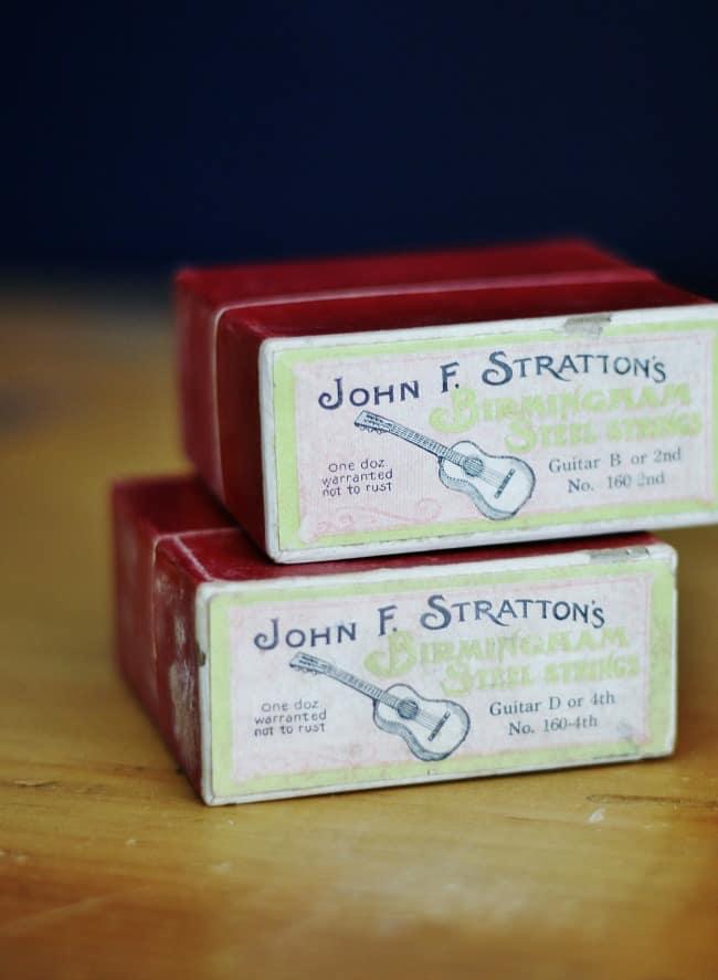 John F. Stratton's steel guitar strings