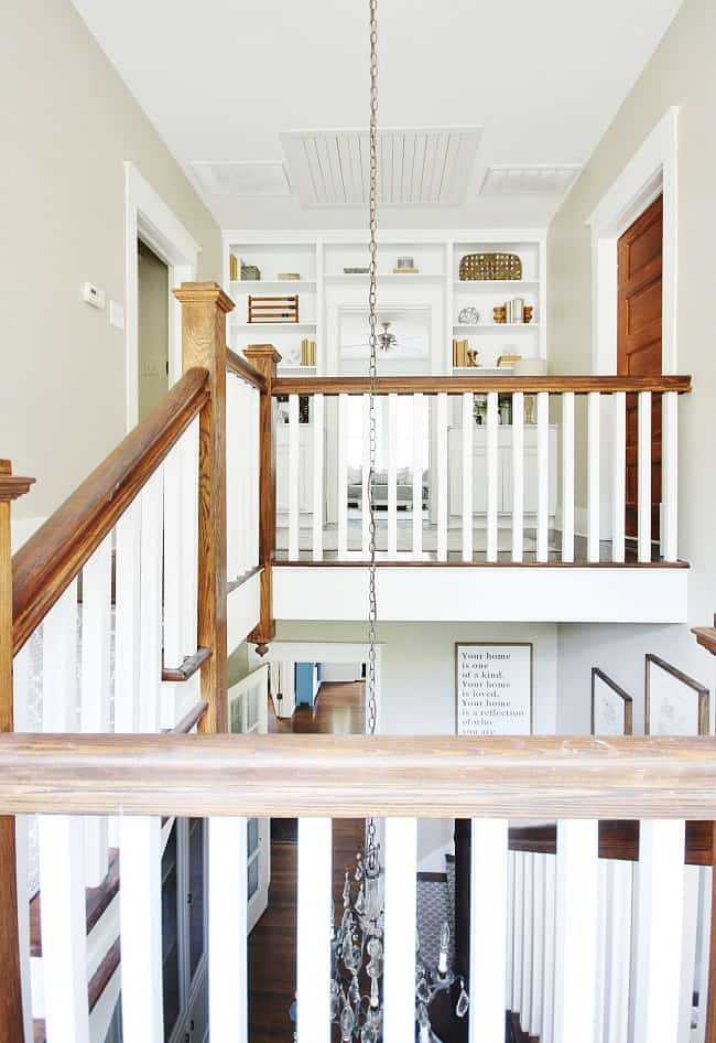 A view of the new built ins from the staircase
