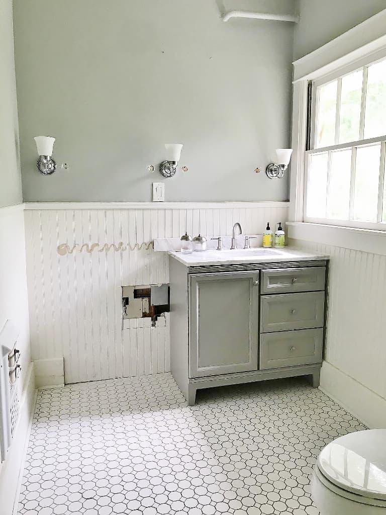 bathroom renovation with Sherwin Williams Sandbar