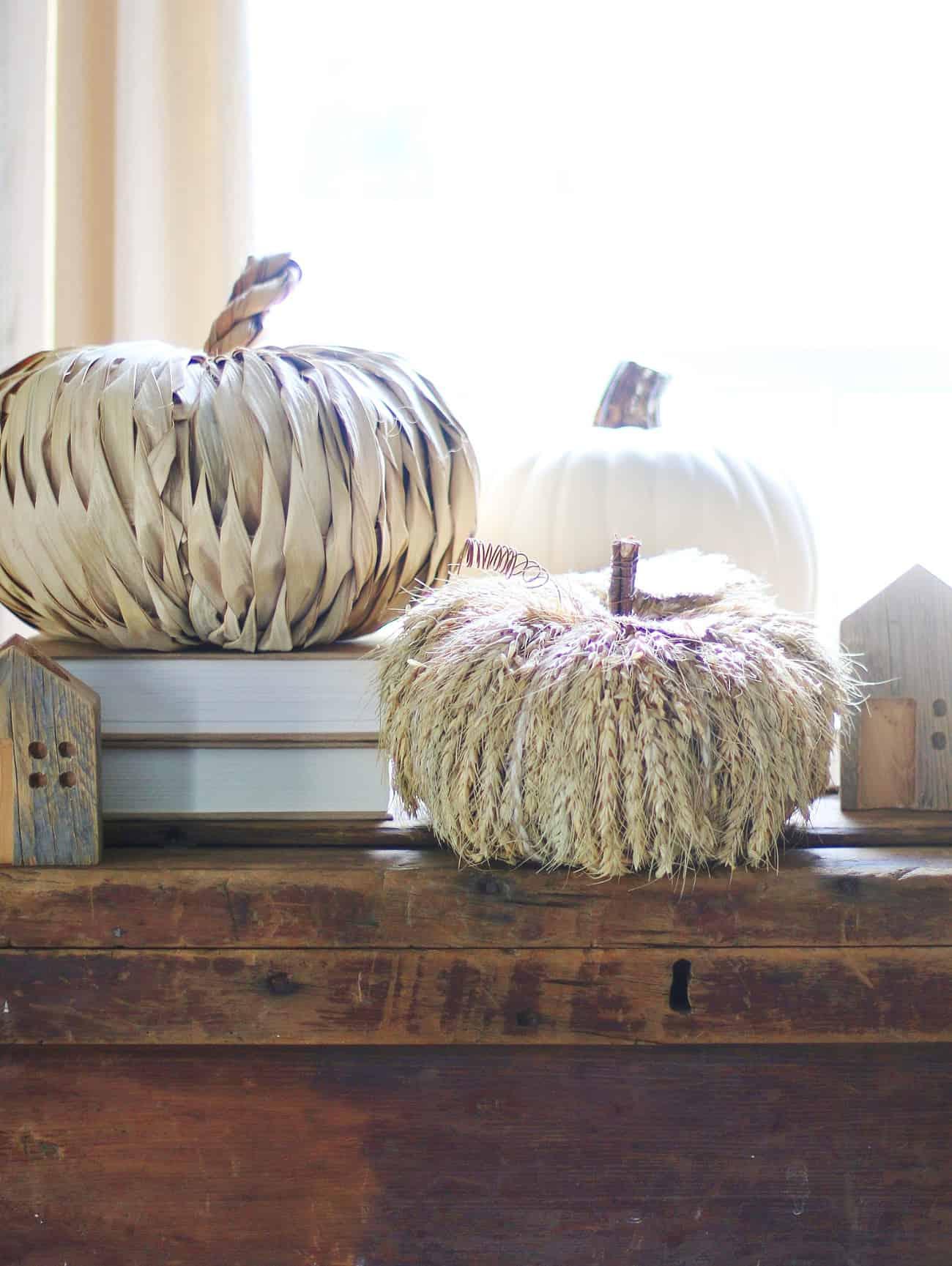 favorite faux pumpkins straw