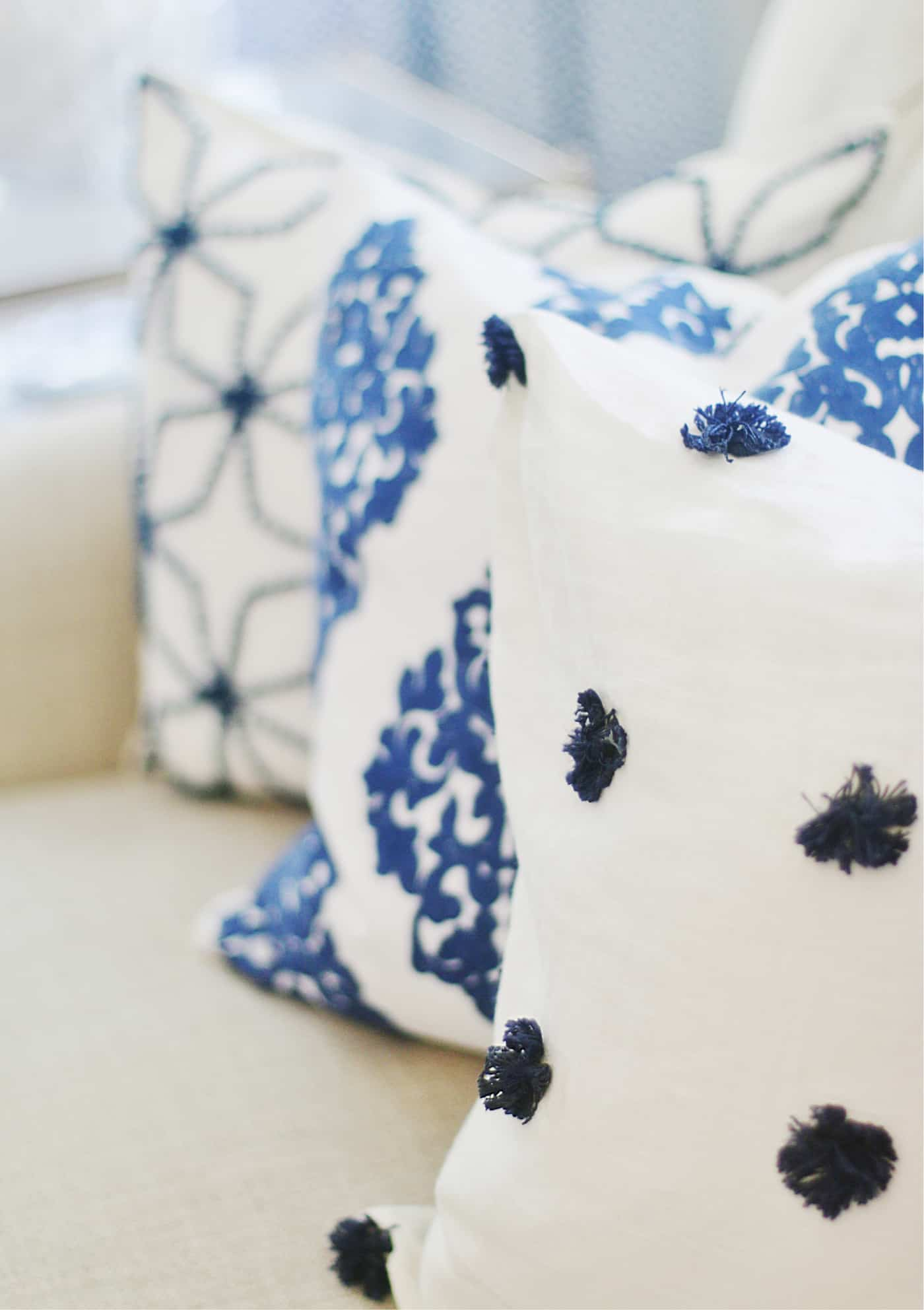 pillows and blue and white and how to mix patterns