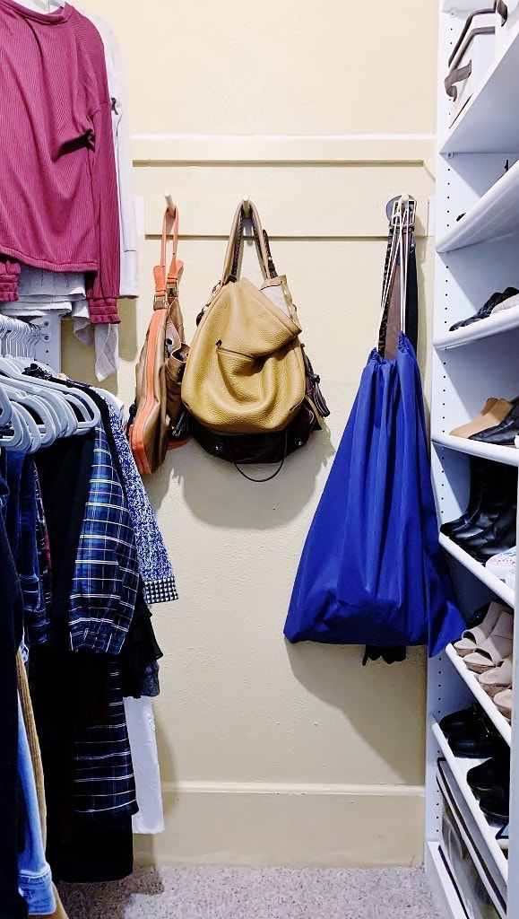 bags hanging on hooks