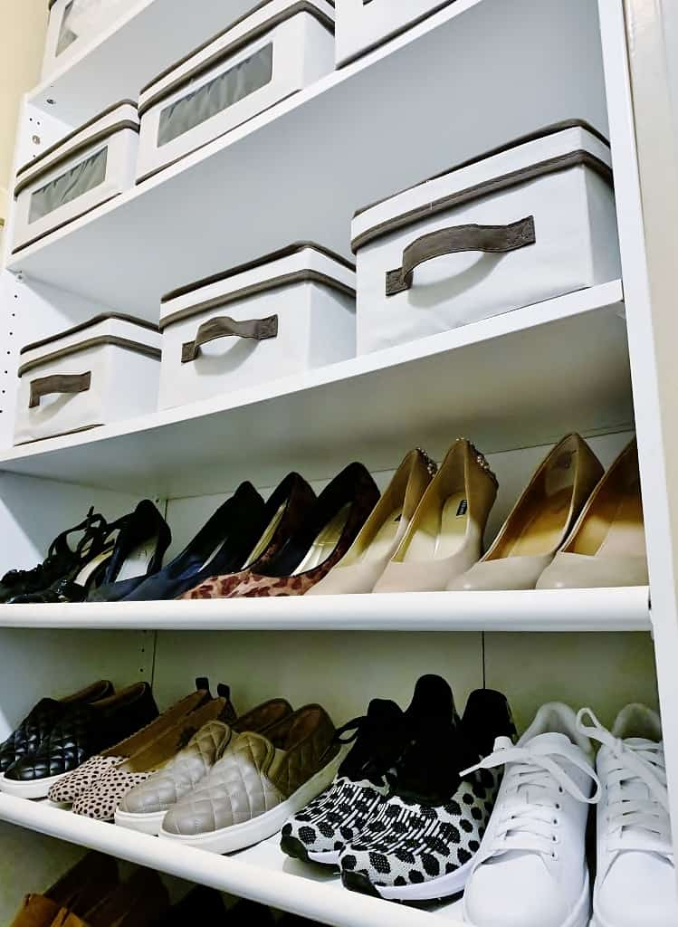 shoes and boxes on shelves