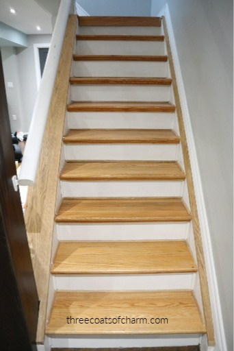 How To Stain Over Stained Wood Stairs Without Sanding Three   White And Dark Wood Stairs   Medium Dark   Foyer   Stair Railing   Indoor   Traditional