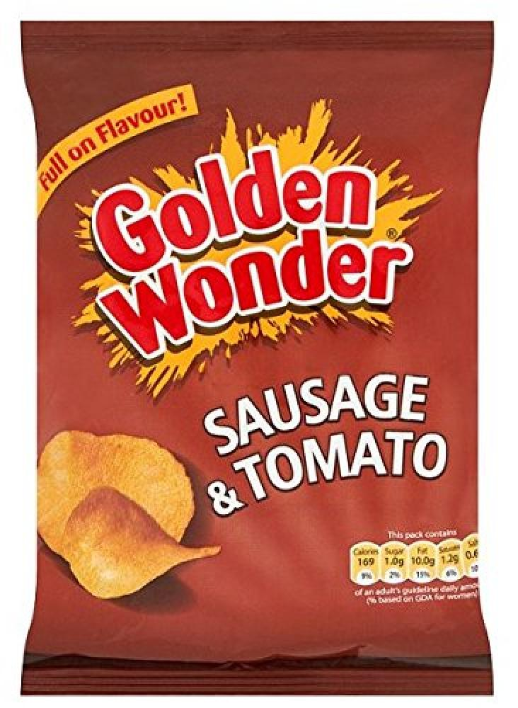 Golden Wonder Sausage And Tomato Flavour Crisps 37 5g Approved Food
