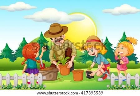 People Planting Tree Park Illustration Stock Vector ...