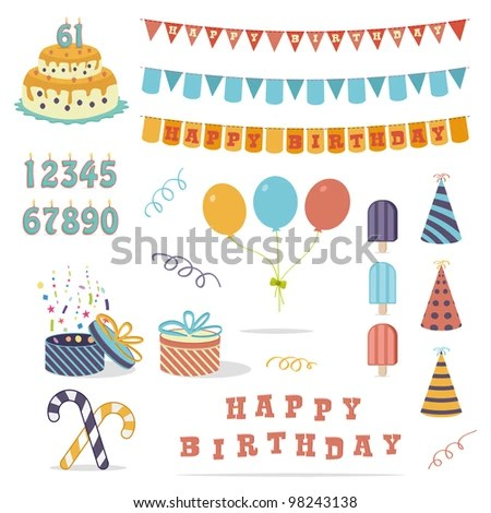 Set Birthday Party Design Elements Colorful Stock Vector