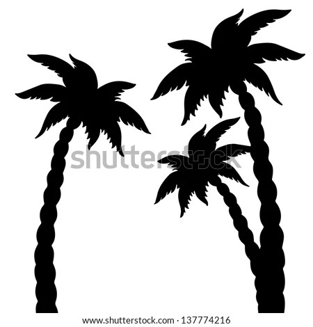 Set Coconut Palms Trees Silhouettes Isolated Stock Vector 137774216 Shutterstock