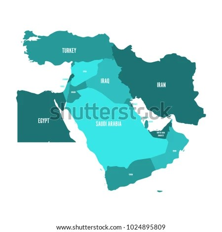 Map Middle East Near East Shades Stock Vector  Royalty Free     Map of Middle East  or Near East  in shades of turquoise blue  Simple