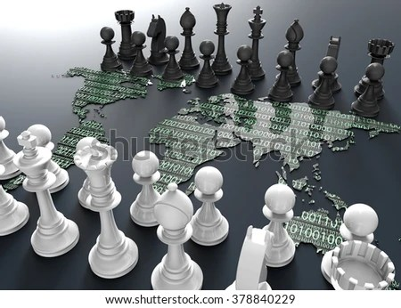 Symbol Electronic Fighting Digital Chess Board Stock Illustration     symbol of electronic fighting  digital chess board out of the world map  with chess play