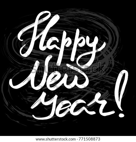 Happy New Year Hand Drawn Lettering Stock Vector 771508873     Happy new year hand drawn lettering for designing greeting card   invitation  poster  banner