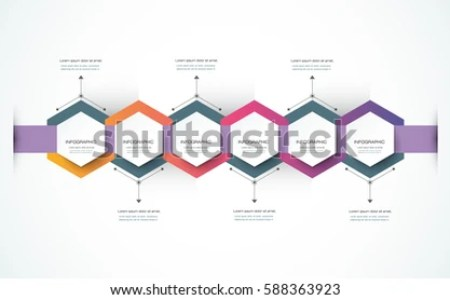 Vector Infographics Timeline Design Template 3 D Stock Vector     Vector infographics timeline design template with 3D paper label   integrated hexagon background  Blank space