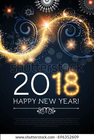 Happy New 2018 Year Poster Flyer Stock Vector  Royalty Free     Happy New 2018 Year poster and flyer template  Lights  snowflakes and  fireworks design