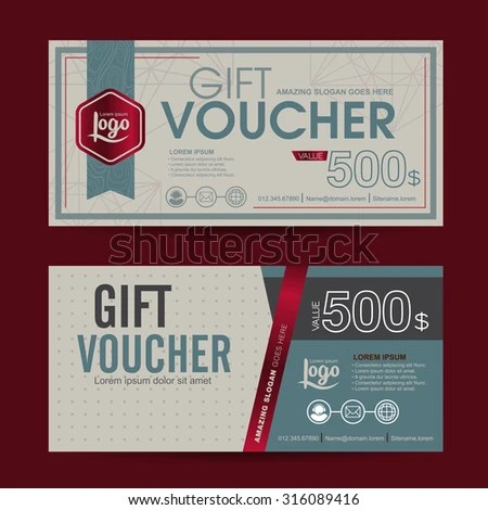 Gift Voucher Template Premium Patterncute Gift Stock Vector     Gift voucher template with premium pattern cute gift voucher certificate  coupon design template Collection